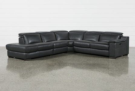 Hana Slate Leather 4 Piece Power Reclining Sectional With Left Facing Chaise