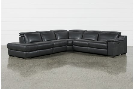 Hana Slate Leather 4 Piece Power Reclining Sectional With Laf Chaise