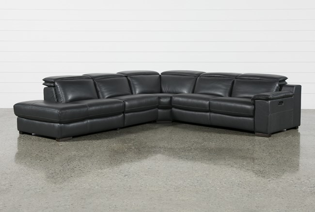 Hana Slate Leather 4 Piece Power Reclining Sectional With Laf Chaise - 360