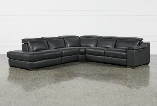 """Hana Slate Leather 4 Piece 113"""" Power Reclining Sectional With Left Arm Facing Chaise - 360"""