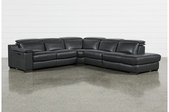 "Hana Slate Leather 4 Piece 113"" Power Reclining Sectional With 3 Power Recliners & Right Arm Facing Chaise"