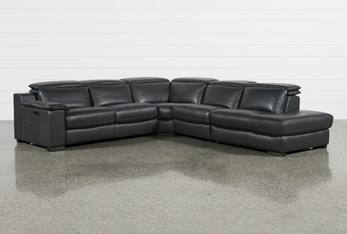 """Hana Slate Leather 4 Piece 113"""" Power Reclining Sectional With 3 Power Recliners & Right Arm Facing Chaise"""