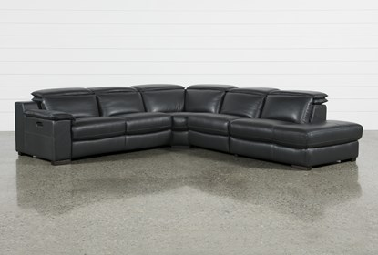 Hana Slate Leather 4 Piece Reclining Sectional With 3 Recliners Right Arm Facing Chaise