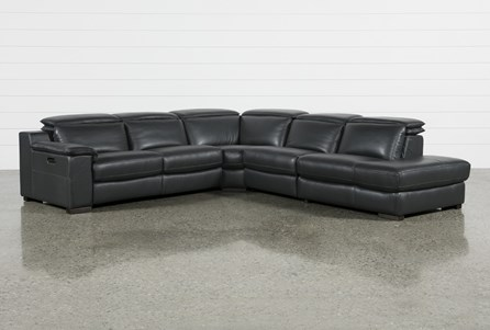 Hana Slate Leather 4 Piece Power Reclining Sectional W/ 3 Power Recliner & Right Facing Chaise