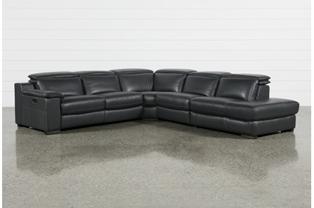 Hana Slate Leather 4 Piece Power Reclining Sectional With 3 Power Recliners & Right Arm Facing Chaise