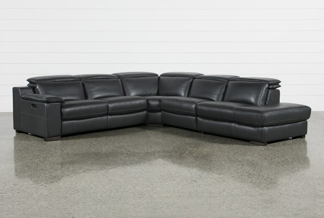 """Hana Slate Leather 4 Piece 113"""" Power Reclining Sectional With 3 Power Recliners & Right Arm Facing Chaise - 360"""