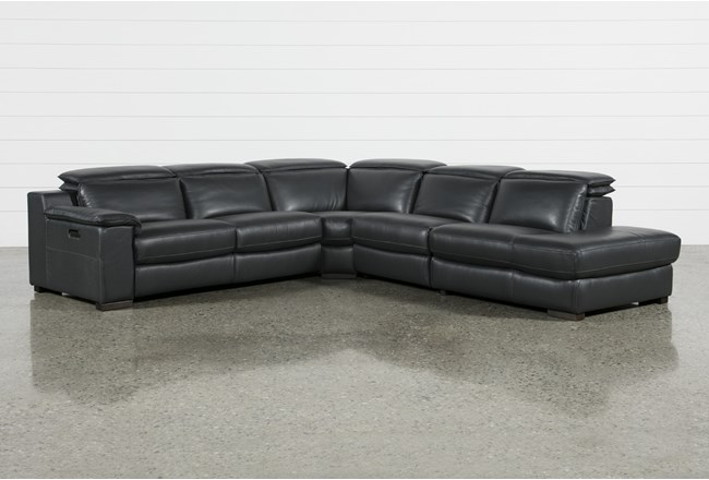 Hana Slate Leather 4 Piece Power Reclining Sectional With 3 Power Recliners & Right Arm Facing Chaise - 360