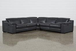 "Hana Slate Leather 3 Piece 113"" Power Reclining Sectional"