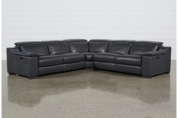 "Hana Slate Leather 3 Piece 113"" Power Reclining Sectional"