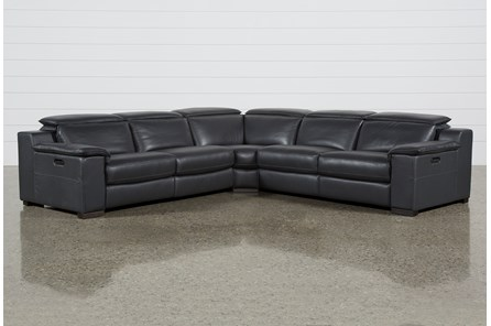 Hana Slate Leather 3 Pc Pwr Rcln Sectional With Right Arm Facing And Left Arm Facing Loveseats
