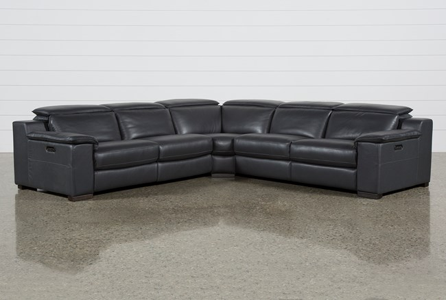 Hana Slate Leather 3 Piece Power Reclining Sectional W/Raf And Laf Loveseats - 360