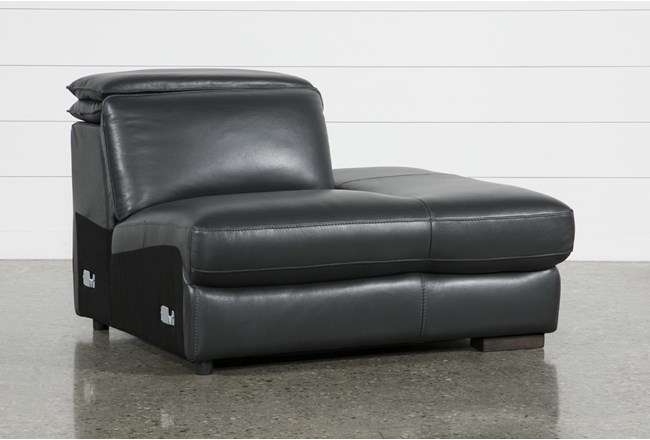 Hana Slate Leather Right Arm Facing Chaise With 2 Position Headrest - 360