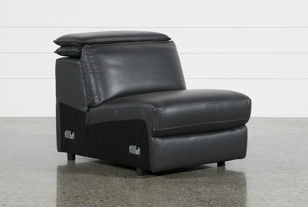 Hana Slate Leather Armless Chair With 2 Position Headrest