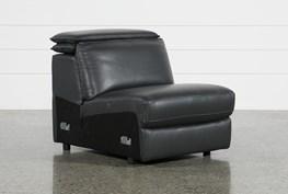 Hana Slate Leather Armless Chair With 2 Position Headrest