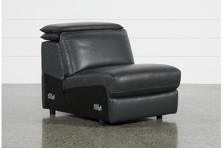 Hana Slate Leather Armless Chair With Ratchet Headrest
