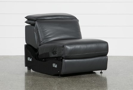 Hana Slate Leather Armless Power Recliner With Ratchet Headrest