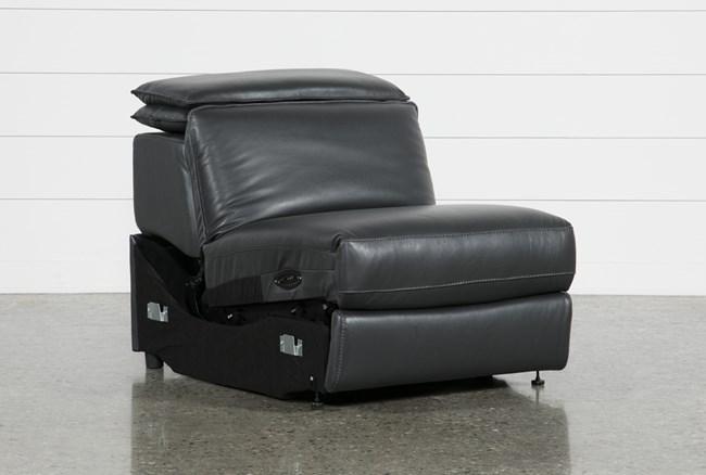 Hana Slate Leather Armless Power Recliner With Power Headrest - 360