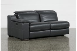 Hana Slate Leather Left Arm Facing Dual Power Reclining Loveseat With Usb