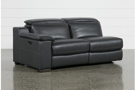 Hana Slate Leather Laf Dual Power Reclining Loveseat With Usb