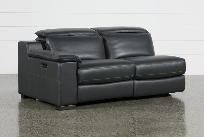 Hana Slate Leather Laf Dual Power Reclining Loveseat With Usb - 360