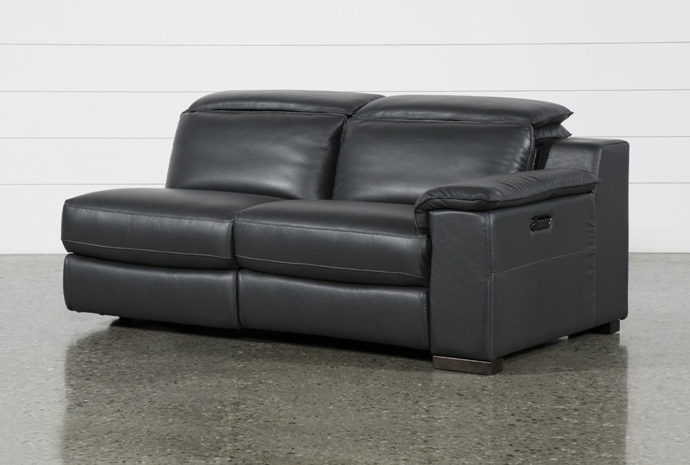 Hana Slate Leather Right Arm Facing Dual Power Reclining Loveset With USB