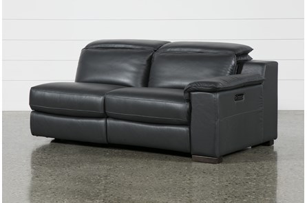 Hana Slate Leather Raf Dual Power Reclining Loveset With Usb
