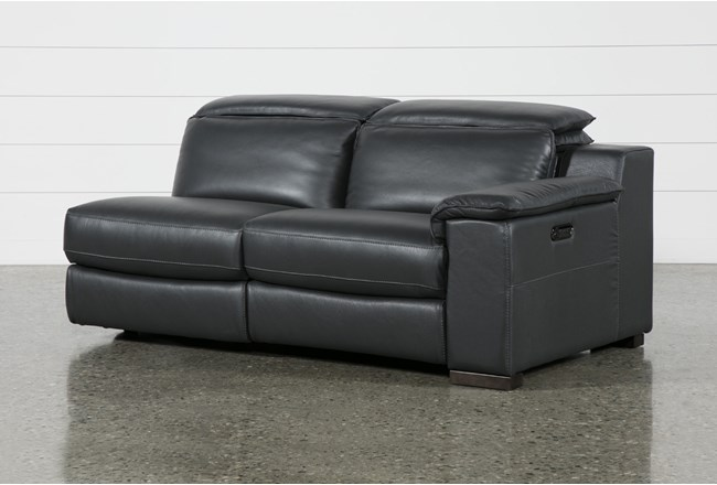 Hana Slate Leather Right Arm Facing Dual Power Reclining Loveset With USB - 360