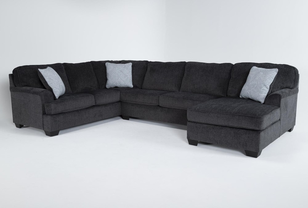 """Calvin Slate 3 Piece 137"""" Sectional with Right Arm Facing Chaise"""
