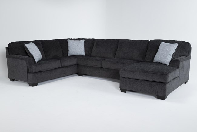 """Calvin Slate 3 Piece 137"""" Sectional with Right Arm Facing Chaise - 360"""