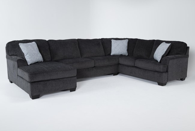 """Calvin Slate 3 Piece 137"""" Sectional with Left Arm Facing Chaise - 360"""