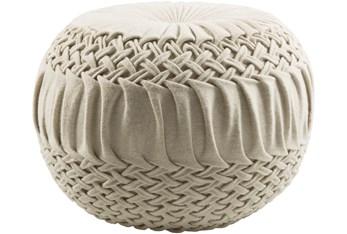 Pouf-Cream Knitted Round