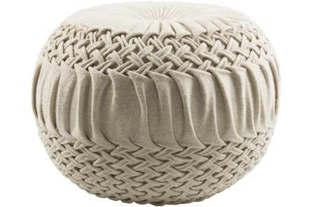 Pouf-Cream Knitted Round