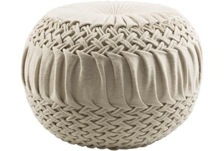 Pouf-Cream Knitted Round - Main