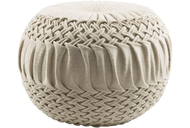 Pouf-Cream Knitted Round - 360