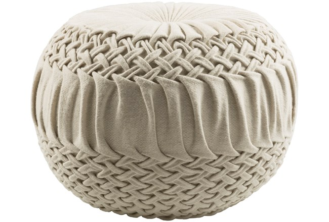 Pouf-Cream Knitted Round - 360