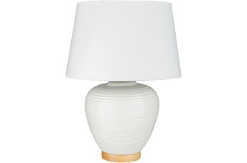 Table Lamp-White Ribbed On Wood Base
