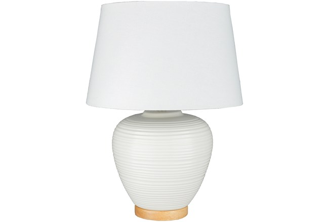 Table Lamp-White Ribbed On Wood Base - 360