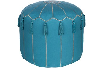 Pouf-Tassled Blue And Metallic