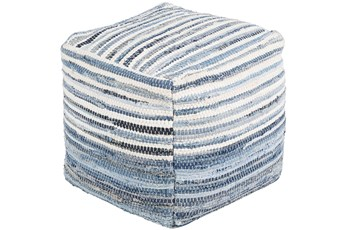 Pouf-Blue Denim Stripe