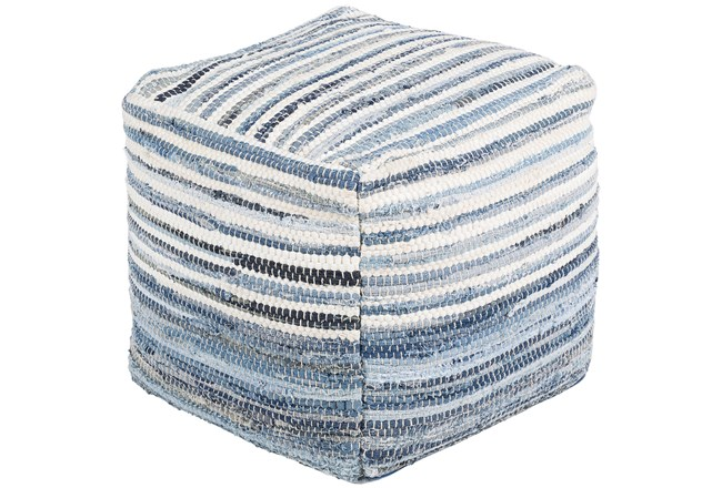 Pouf-Blue Denim Stripe - 360