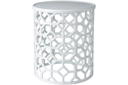 White Perforated Stool - Main