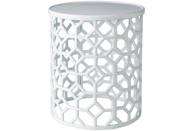 White Perforated Stool - 360