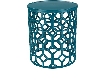 Teal Perforated Stool - Main