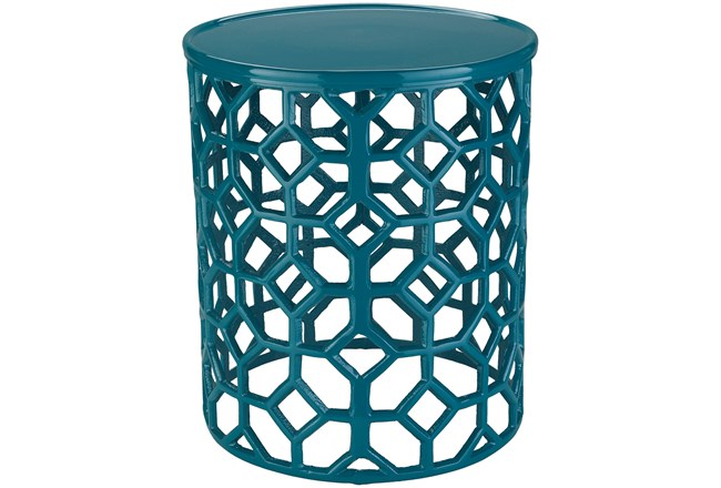 Teal Perforated Stool - 360