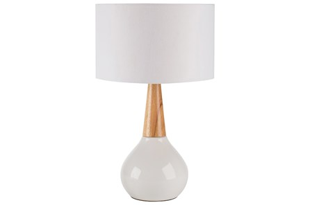 Table Lamp-White Glaze And Wood