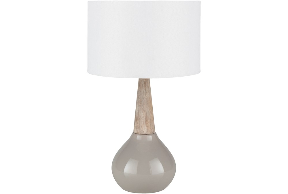 Table Lamp-Grey Glaze And Wood