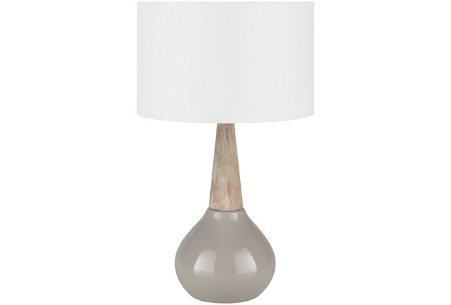 Table Lamp-Grey Glaze And Wood - 360