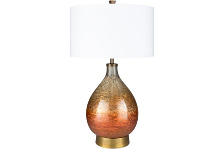 Table Lamp-Orange Lacquered Multicolor