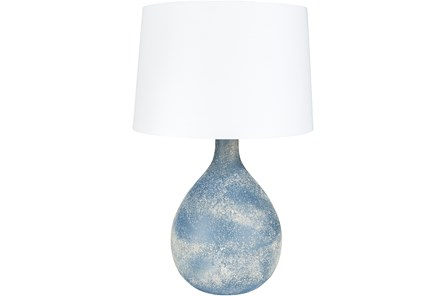 Table Lamp-Blue Frosted Glass
