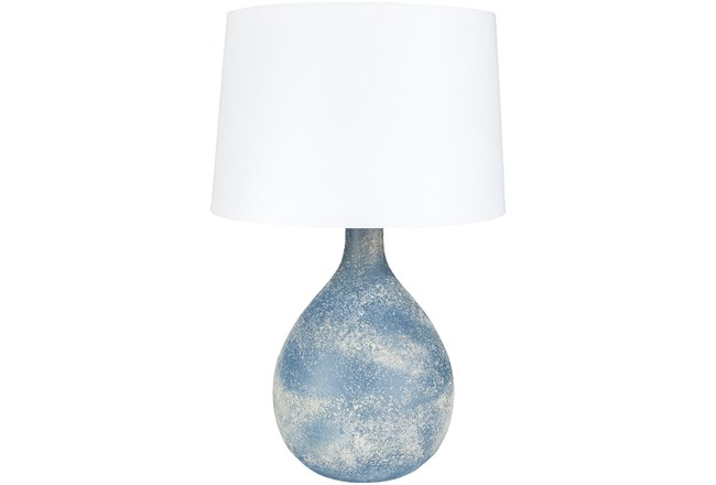 Table Lamp-Blue Frosted Glass - 360
